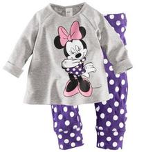 6sets/lot baby children pajamas clothing set minnie t-shirt + polks dots pants sleepwear suit ZZ0079(China (Mainland))
