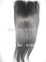 100% Unprocessed Brazilian Queen Hair Natural Color Yaki Straight Brazilian Virign Hair Lace Closure Human Hair bleached knots