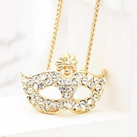 Super junior bohemia opera mask flowers crystal gold plated short necklace for women Hot Sale