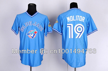 MLB Toronto Blue Jays #19 Molitor Light Blue Canada Day Cool Base Baseball Jerseys Authentic On Field Jersey From China