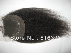 "Brazilian Queen Hair Products: 14"" Natural Color Kinky Straight Brazilian Hair Top Closure Thin Skin (4""x4"") Lace Closures(China (Mainland))"