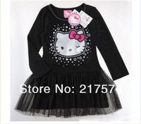 Hello Kitty Set Wholesale 5pcs/LOT 2013 Hello Kitty Girls Long Sleeve  One Piece Tutu Skirts princess  dress5sets / lot 2 colors
