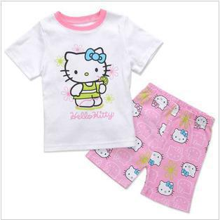 6sets/lot girls kitty pajamas set baby children t-shirt + shorts summer home wear clothing suit ZZ0273