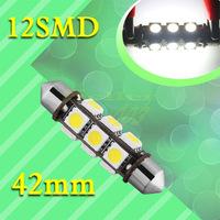 100pcs  42mm 12 SMD 5050 Pure White Dome Festoon Dashboard Car 12 LED Light Bulb Lamp Interior Lights C5W Led