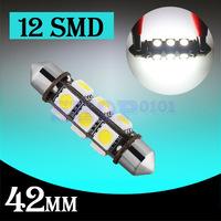 50pcs  42mm 12 SMD 5050 Pure White Dome Festoon Dashboard Car 12 LED Light Bulb Lamp Interior Lights C5W Led