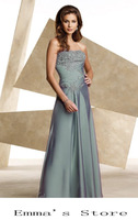 Free Shipping Fashion Custom Made 2014 Elegant A-Line Floor Length Chiffon Applique Silver Mother Of Bride Dresses