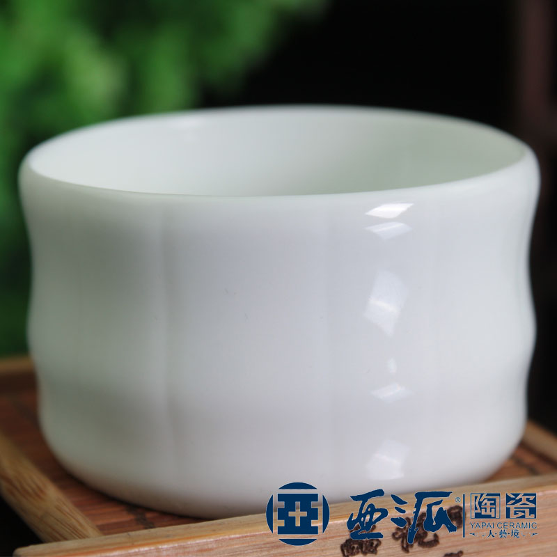 Asia has sent lusterware pure white porcelain white bamboo cup tea set cup bulk(China (Mainland))