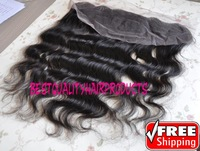"free shipping 13x4"" 1b# virgin brazilian human hair lace frontal and closure hair pieces"