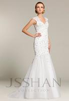 11W055 Cap Sleeves V-Neck Rhinestoned Applique Mermaid Tulle Luxury Unique Bridal Brush Train Wedding Dress Wedding Gown