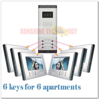 New brand video doorphone intercom systems/door bell ( 6 keys outdoor video system+6pcs 7inch color monitor ) Drop Free shipping