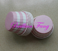 New!!! 1000pcs Round MUFFIN CAKE Pink with WHITE Stripe Paper CUPCAKE CASES