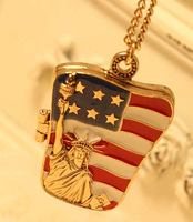 The statue of liberty the flag of the United States Necklace female chain  for women jewelry wholesale Free shipping