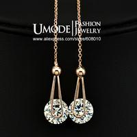 UMODE 2 carat Swiss Cubic Zircon Diamond Drop Line Earrings JE0229A