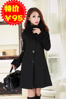 free shipping best selling women's Autumn and winter new arrival fashion overcoat long-sleeve medium-long cardigan carouterwear