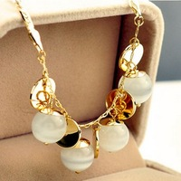 Free Shipping! 2013 New Arrival Bohemia Elegant White Ball Gold Plated Short Necklace Fashion Jewelry For Women Mother Day Gift