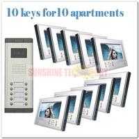 "Video door bell phone intercom/video camera system/intercom door phone ( 10 keys camera+10pcs 7""color monitor ) Free shipping"