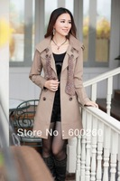 Best Selling!! High quality Womens Casual Double-Breasted Long Jacket Coat Outwear with Scarf+Free Shipping 5219