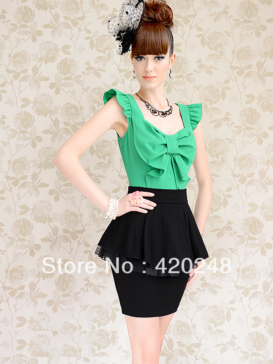 Free Shipping Discount Store Large cloth pink 2013 summer bow slim women's butterfly sleeve chiffon shirt doll V-Neck Wholesale(China (Mainland))