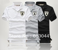 DROP SHIPPING FASHION MEN`S COTTON POLO T SHIRT SHORT SLEEVE EMBROIDERY LOGO MAN TOPS  BLOUSE 3 COLORS M-XXL MD-006