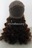 Customer making human hair silk top /base half color rommance curl full lace wigs