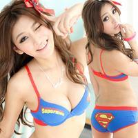 Superman 100% cotton sweat absorbing super man young girl sexy push up underwear bra set