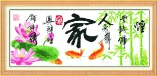 Peony print cross stitch lotus carp big picture series(China (Mainland))
