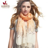 Wire autumn and winter women's scarf cartoon pattern scarf worsted wool scarf