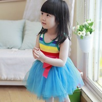 4 pcs/lot  2013 Best Selling Children Kids Clothing Girls Dresses Rainbow Design Summer Wear HOT  AA5260