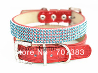 free shipping by dhl or TNT  bling dog collar five color crystal collar and leather collar