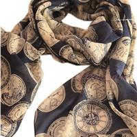 2013 clocks pattern scarf women's ultra long vintage all-match texture chiffon silk scarf