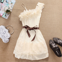 New 2014 summer Fashion Sweet Pleated Party One Shoulder Off Dresses Sexy Chiffon Stylish Ladies Women Dress WQC008