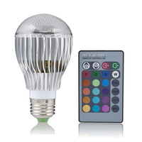 New E27 9W Remote Control Color Changing LED Light Bulb RGB Color Lamp 100 - 240V free shipping