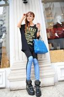 2014 New arrival  Women's Denim Patchwork Fashion Leggings Skinny Leg Pants Cheap price A15