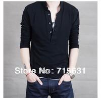 2014 new men's clothing slim 100% cotton t-shirt Men basic long-sleeve shirt solid color t-shirt