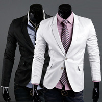 Free Shipping 2013 Autumn Men's Slim Of  Suit  Blazer  Coat Buckle Boys 3Colors White Black Khaki Lazer Suit Size M L XL XLL