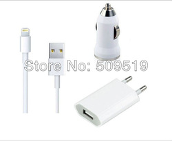 3pcs 3 in 1 Travel Kit for iPhone 5 iPad mini iTouch 5 adapter cable (EU Plug Home Charger, Car Charger, 8 Pin USB Cable)(China (Mainland))
