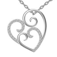 925 pure silver jewelry Women bride short design fashion birthday gift heart necklace