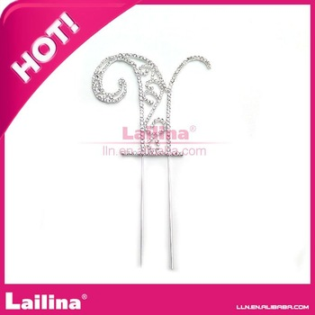Fashion Crystal monogram rhinestone cake toppers of wedding