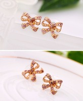 2014 New Arrival  Fashionable  Mini Lovely High Quality  Bow Earring For  Women Free Shipping.OY13031730