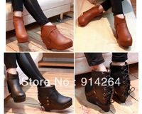 Women's Retro Winter Warm Ankle Boots Studs Lace Up Platform Heel Wedge Shoes /free shipping +trackingnumber