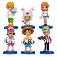 Free Shipping -Q Style ONE PIECE Toy Models,Straw Hat Legion,New World,5-8cm,6PCS/SET