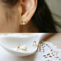 (Min order is $10) E2097 stud earring unique love pearl stud earring