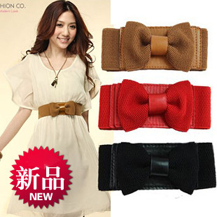 (Min order is $10) E9417 queer decoration cummerbund bow knitted ultra wide elastic waist belt women's