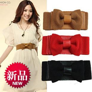 (Min order is $10) E9417 queer decoration cummerbund bow knitted ultra wide elastic waist belt women's