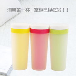 Plastic double layer vacuum cup tea cup glass insulated glass travel cup daily necessities 2645(China (Mainland))