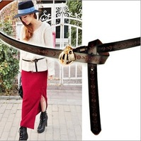 Nnw Arrive/ Hollow Out Genuine Leather Leahter belt Classic  Women's Belts Fashion Golden Key Lock Buckle Belt for Lady