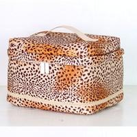 2013 leopard print peach skin women's cosmetic bag water wash women's handbag storage bag cosmetic box
