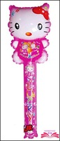 Free Shipping :78x25cm Hello Kitty cheering stick,cartoon head balloon clappers , inflatable balloon stick