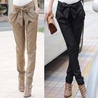 2014 New Arrival, Free Shipping, Fashion high waist  long cotton OL casual bow harem pants black,khaki color pants women