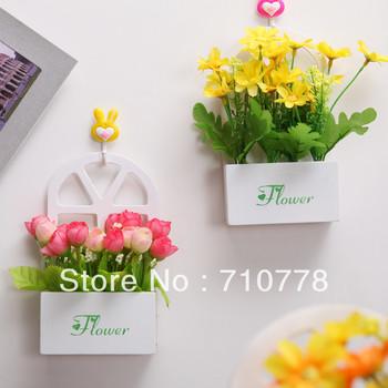 Artificial flower set with vase table wall home decoration flower wood  vase hanging basket